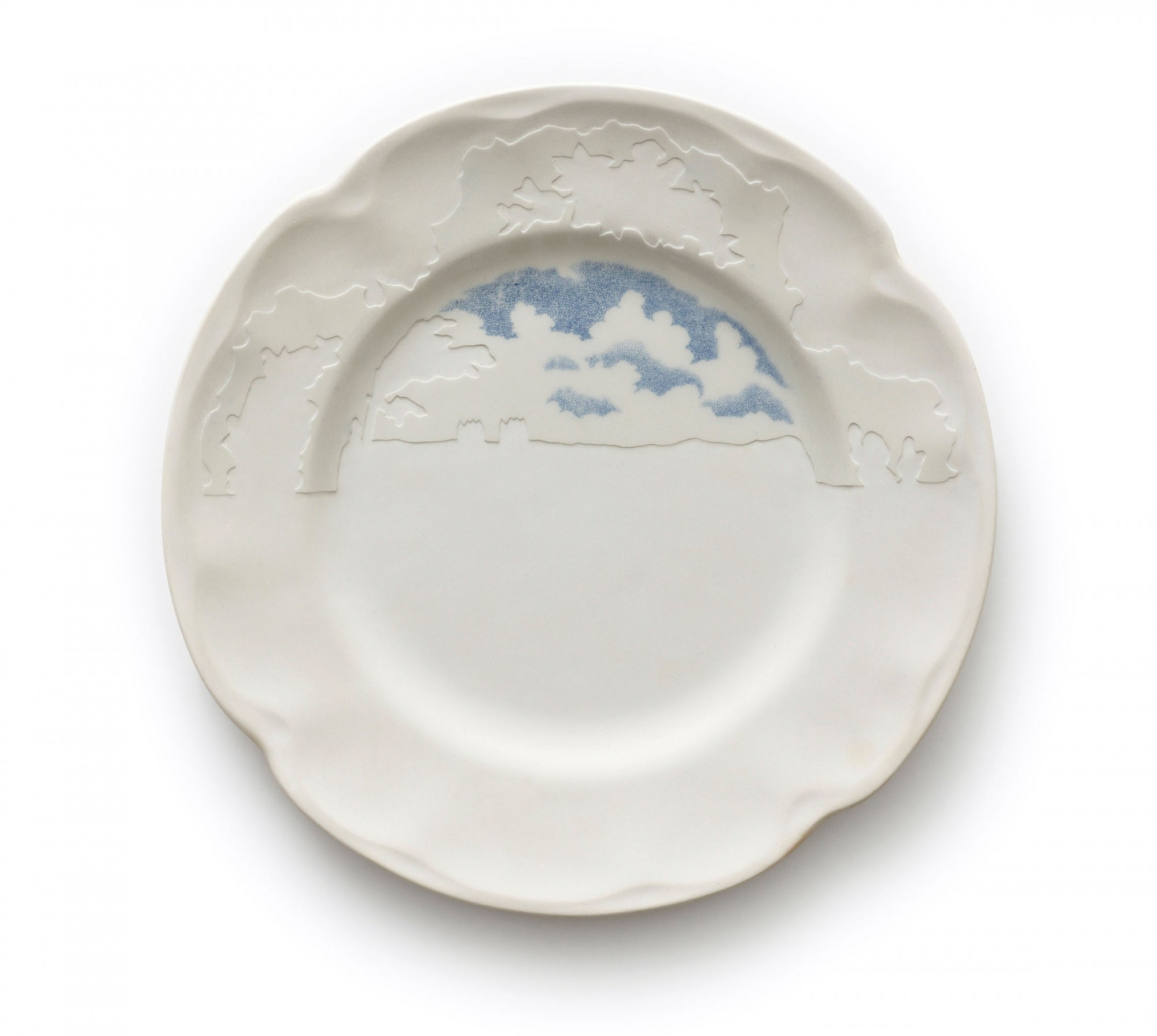 From the series Under Blue Skies, 2009. Reworked second hand ceramics. Ø 22 cm