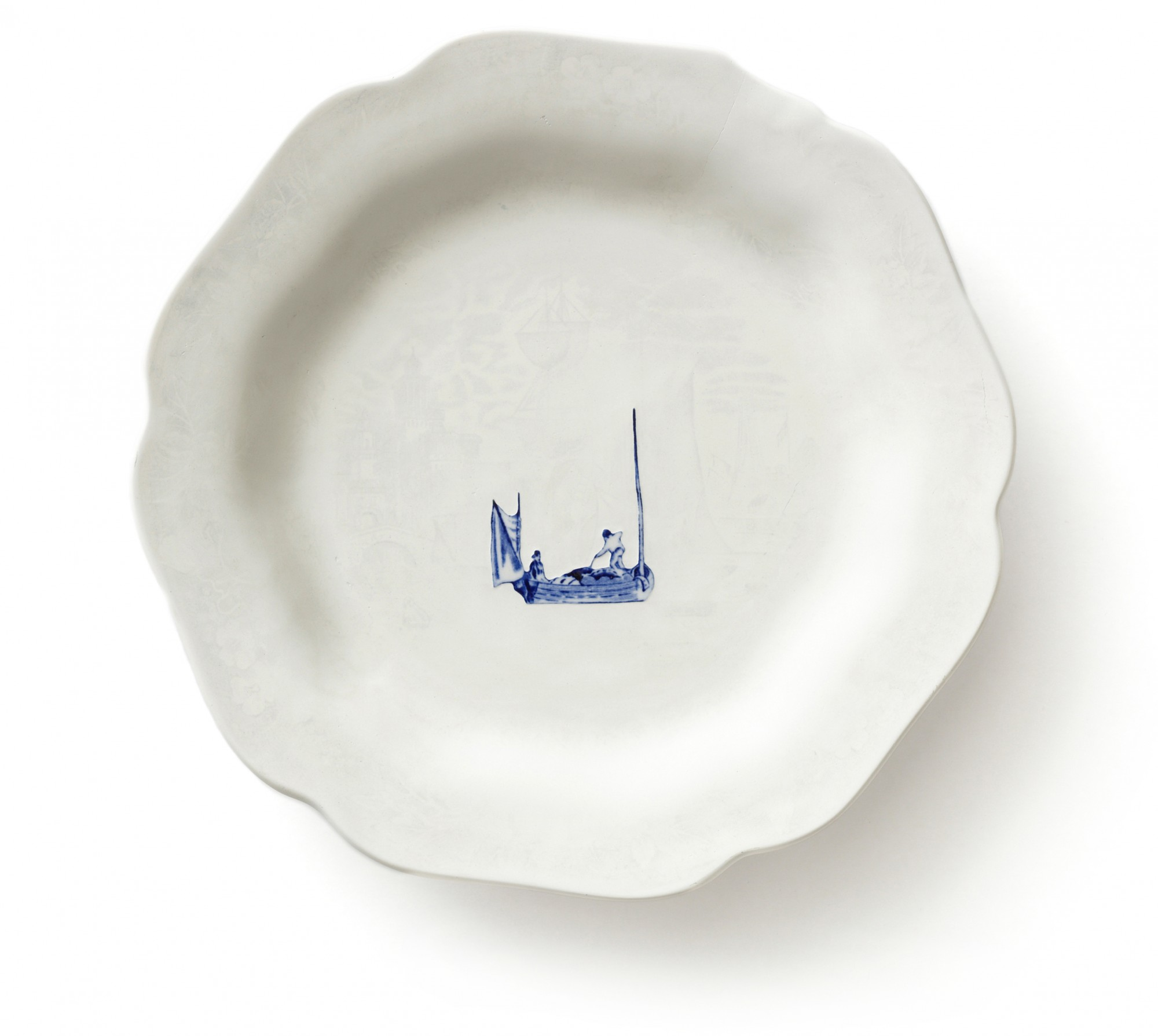From the series Gone Fishing, 2009. Reworked second hand ceramics. Ø 22 cm